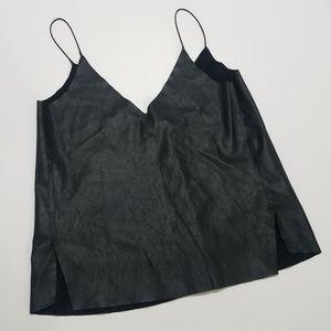 Zara pleather cami tank top PVC black